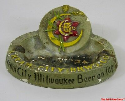 Pre-Prohibition Cream City Advertising Chalk Milwaukee Brewery Beer Ashtray