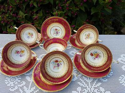 Paragon Red floral pattern soup coupes & saucers