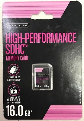 NEW Infinitive High Performance SDHC memory Card, 16GB stores up to 2000 photos