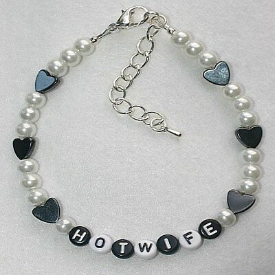 Personalised Hotwife Magnetic Hematite Hearts Sexy Glass Ankle Bracelet Anklet