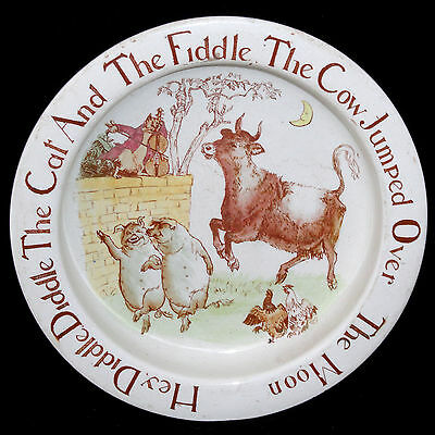 Rare CAT FIDDLE BOW MOON Childs Colorful Feeding Dish Bisto 1910 Staffordshire