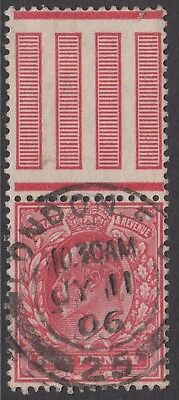 GB KEVII 1d Scarlet SG219 Edward VII Used Stamp with Control Pillars