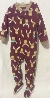 NEW CARTERS Baby Boy Clothes size 18 month Soft Fleece MOOSE Pajama Sleeper