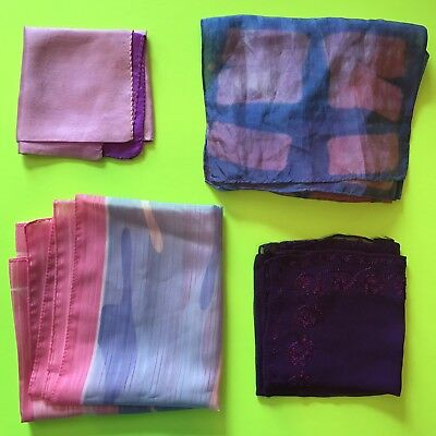 4 Vintage Scarves Purple Silk Embroidered Square Oblong  Pink Scarf Lot Ladies