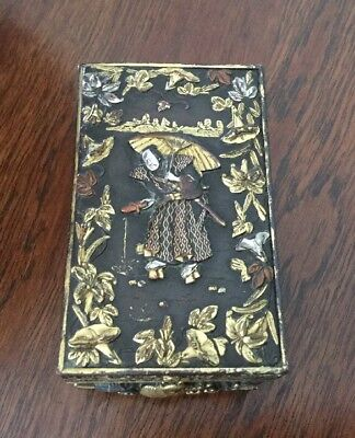Japanese Meiji Bronze Mixed Metal Shibuchi / Shakudo Box - Patinated