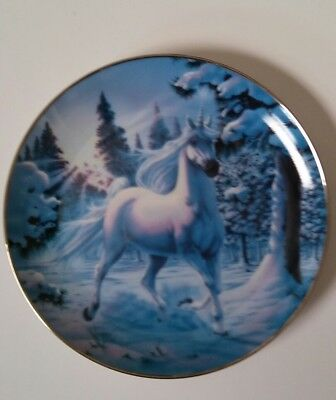 Snow Prance Of The Diamond Unicorn By Steve Read Collector Plate Franklin Mint
