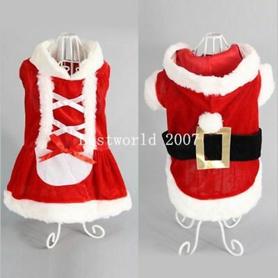 Pet Puppy Cat Dog Xmas Clothes Santa Claus Christmas Coat Costume Outfit Apparel