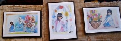 """lot of 3 Vintage South Western Artist Ted DeGrazia Plaque 5x3.5"""" florals flowers"""