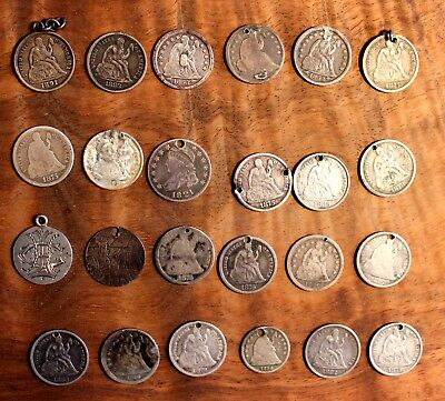 1821 Capped Bust Liberty Seated Dime Silver Love Token Lot of 24 U.S. Coins