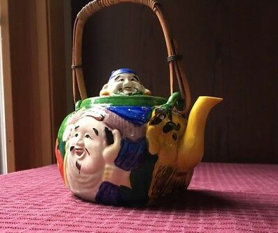 Antique Banko Ware Glazed Clay Enamel Teapot with Colorful 3D Grotesque Shapes