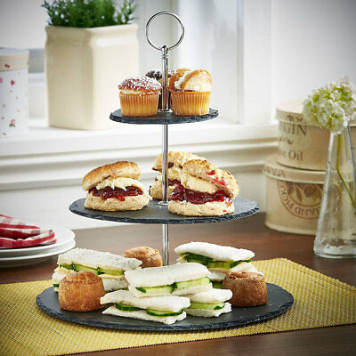 3 Tier Natural Slate Cake Stand Afternoon Tea Wedding Party Tableware Gold/Chrom