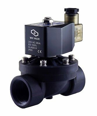 "1"" Inch Electric Plastic Solenoid Air Gas Water Zero Differential Valve 24V AC"