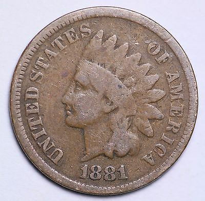 1881 Indian Head Cent Penny / Circulated Grade Good / Very Good 95% Copper Coin
