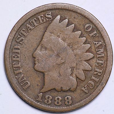 1888 Indian Head Cent Penny / Circulated Grade Good / Very Good 95% Copper Coin