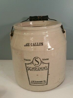 Early authentic CROCK 1-gallon J S SCHRAMM CO Pittsburgh PA USA Schramm's