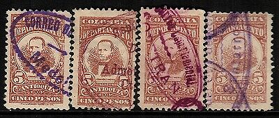 Colombia-Antioquia, Used, 156(4), Great Cancels