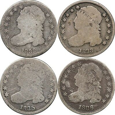 1832, 1833, 1835 & 1836 Capped Bust Dimes, AG / G