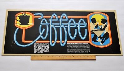 Original ANTIQUE VINTAGE 1930s COFFEE SIGN Advertising Coffee Shop Poster
