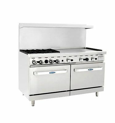 "New Heavy 60"" Range 4 Burners 36"" Griddle 2 Full Ovens Stove  Lp Prop Gas Only"