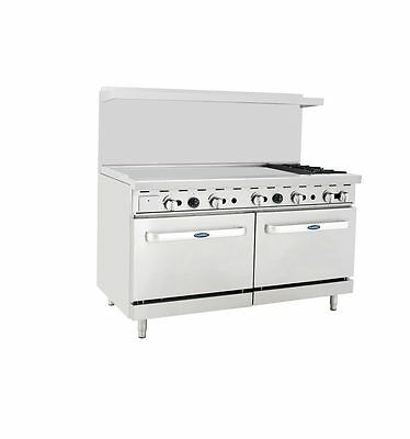 "New Heavy 60"" Range 48"" Griddle 2 Burner 2 Full Ovens Range Stove  Lp Prop Gas"
