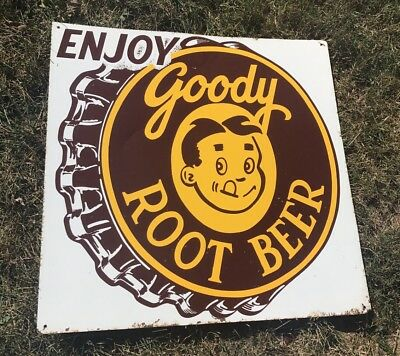 "Vintage 1950s Goody Root Beer Tin Sign single-sided w/graphics! SCARCE 24"" x 24"""