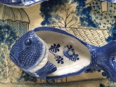 Antique Vintage HTF 7 Painted Porcelain Japanese Fish Blue & White Small Dishes