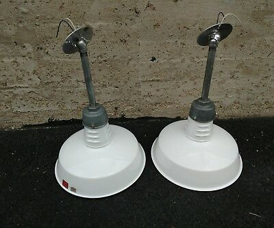"Pair of Reclaimed Vintage Industrial 14""  White Enamel Light - Ivanhoe Mfg"