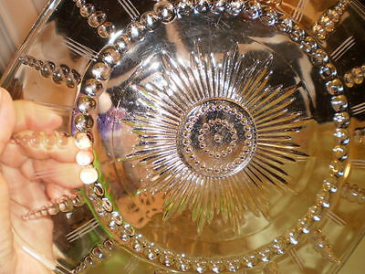 clear depression glass plate, star, round bubbles