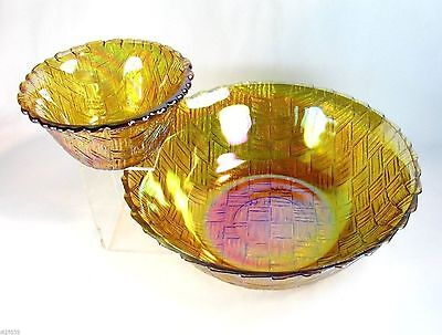 Indiana Gold Carnival 2 Glass Bowls Weavetex Basketweave Goldentone Chip Dip