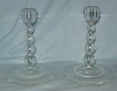 Paden City Alexander 4 Bead Candle Holders Pair