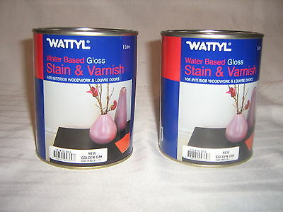 Wattyl wood Stain and Varnish, 2x1 Litre tins, New Golden Oak, FerntreeGully