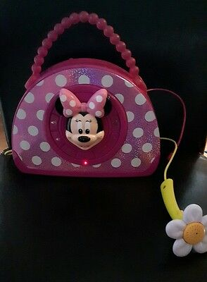 DISNEY Minnie Mouse sing and stroll MP3 BOOMBOX PURSE MICROPHONE - READ DETAILS