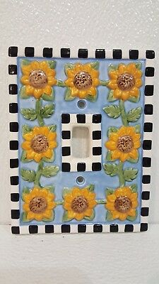 Sunflowers Ceramic Single Toggle Cover Plate Hand Painted Sunflowers