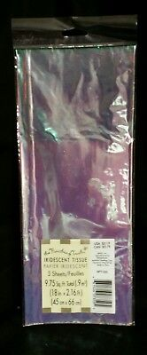 3 Sheets IRIDESCENT Gift wrapping Tissue Paper American Greeting Cellophane NIP