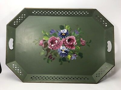 Vintage Shabby Chic Handpainted Floral Green Metal Serving Toleware Tray-26x18""