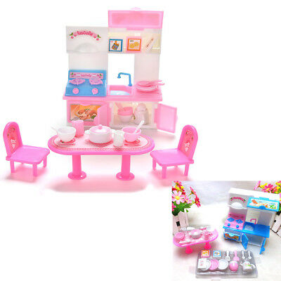 Mini Kitchen Furniture Set Dining Tools Kitchen Cabinet for Barbie Doll Toys