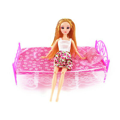 3pcs/1 set Pink Pillow Bedsheet Bed 1/6 for Barbie Doll's Dollhouse Furniture