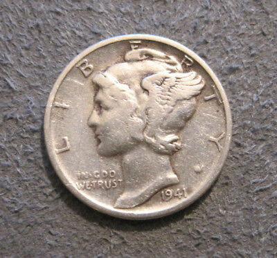 As Shown -1941 P 10C Mercury Dime In Circulated Condition / 90% Silver // Mc 039