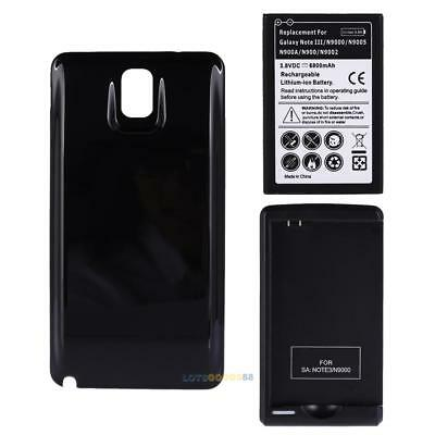 6800mAh extended battery  + Black Cover+Charger for Samsung Galaxy Note 3 N9000