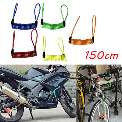 Motorcycle Safety Lanyard Spring Coil Wire Disc Brake Lock Reminder Cable New