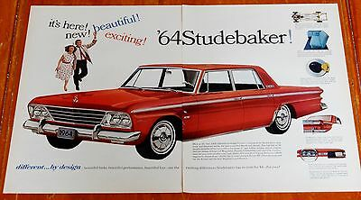 Large 1964 Studebaker Cruiser In Red Ad - 60S Vintage Classic Car