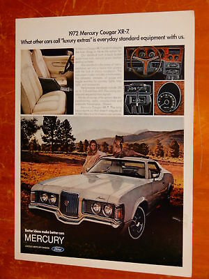 Cool 1972 Mercury Cougar Xr-7 In White Ad / Vintage 70S American Auto Retro