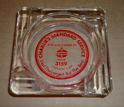Charlie's STANDARD SERVICE Old Advertising Glass Ashtray Gas Station Yankton SD