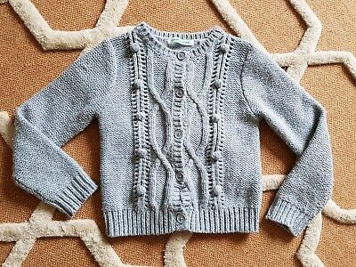 COUNTRY ROAD GIRLS size 6 Grey CARDIGAN CARD chunky Knit Wool mix