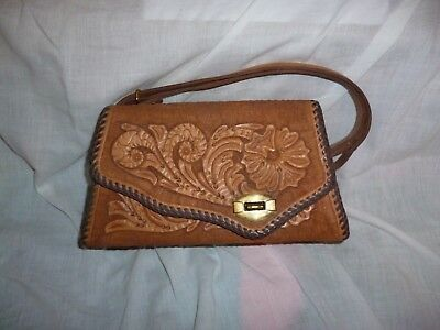 "Vintage Hand Tooled Floral Genuine Leather Purse Clutch Satchel Bag 5"" tall 9"" L"