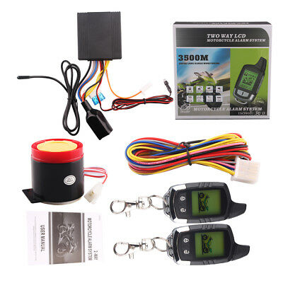 3500M LCD PAGER Motorcycle Alarm System Two Way Remote Start & Microwave Sensor