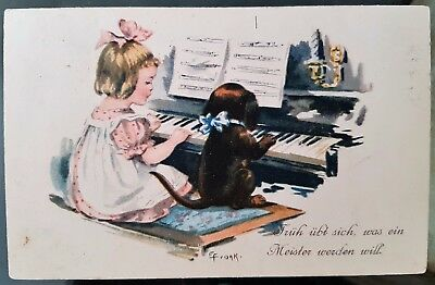 Germany 1918 Children Puppy Playing Piano Verse Photograph Postcard Cover