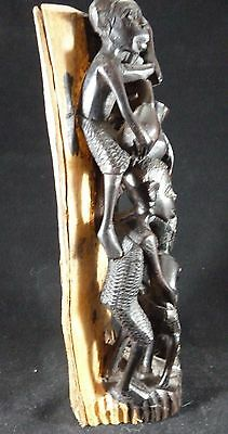 """African Folk Art Sculpture, 5 Carved Look Characters on Wood Bark Backing, 11"""""""