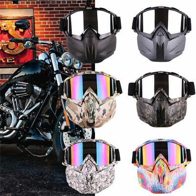Cycling Racing Detachable Helmet Motorcycle Protective Face Mask Shield Goggles