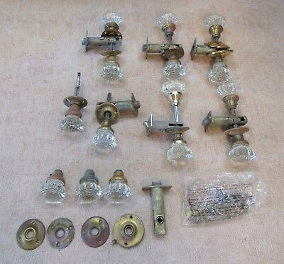 Vintage Antique Victorian Glass Brass Door Knob Hardware Lot